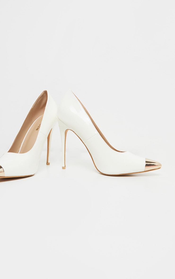 White Metal Toe Court Shoe 3