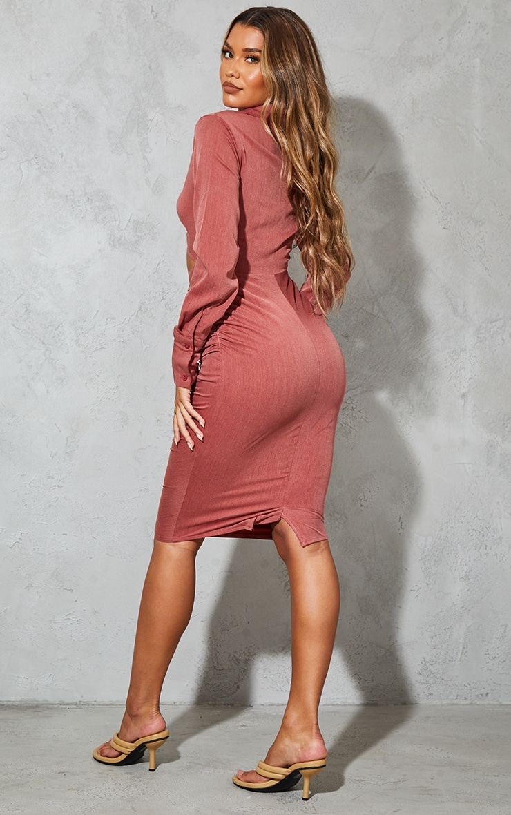 Rust Woven Ruched Cut Out Detail Shirt Style Midi Dress 2