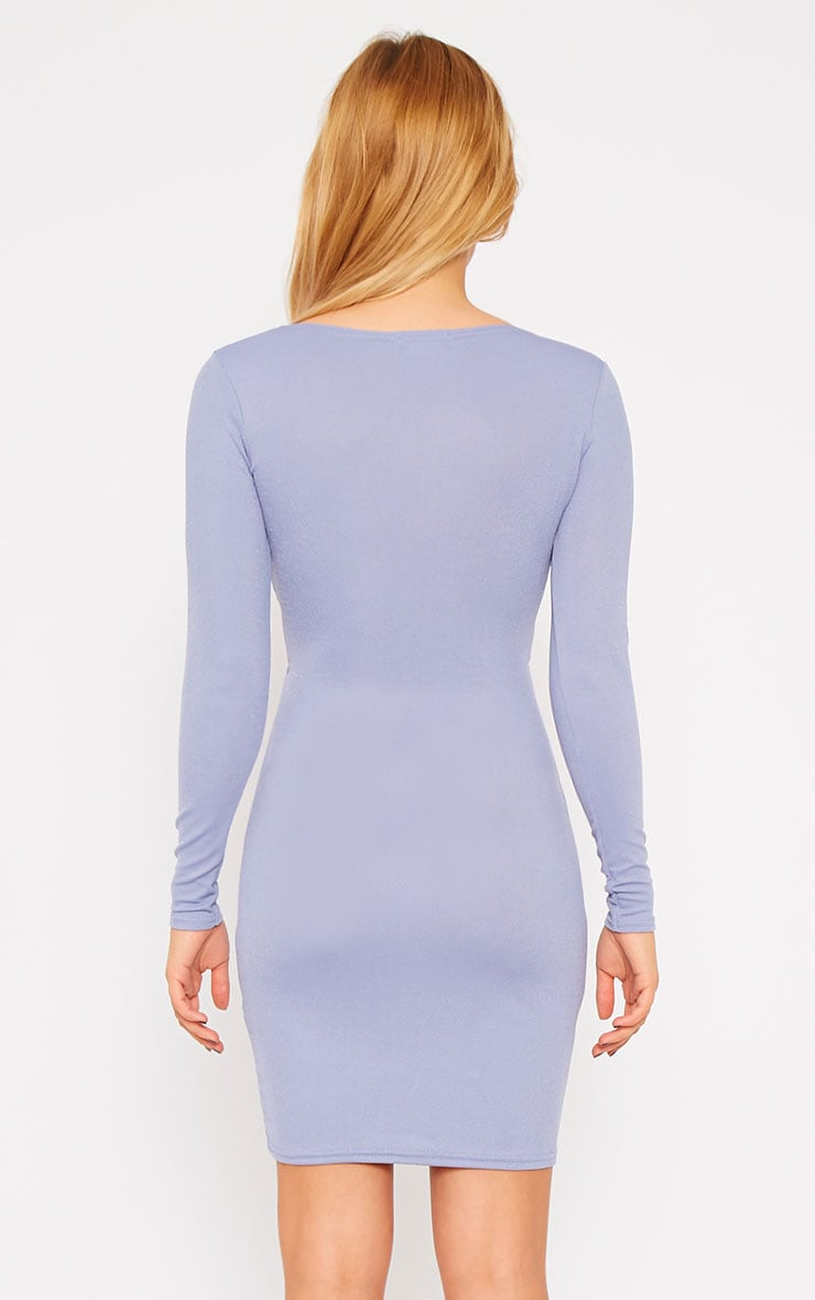Hayley Powder Blue Crepe Cross Over Dress 2