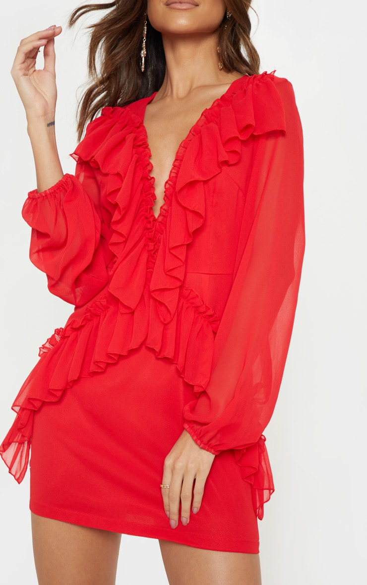 Red Chiffon Frill Detail Bodycon Dress 5