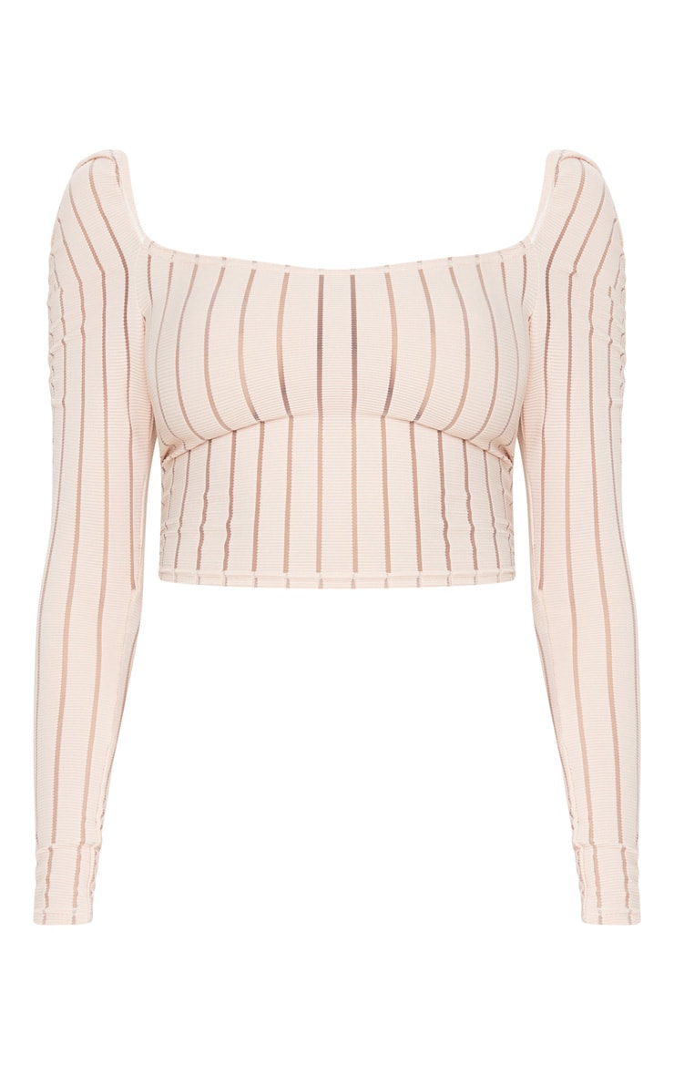 Nude Sheer Rib Ruched Shoulder Crop Top 3