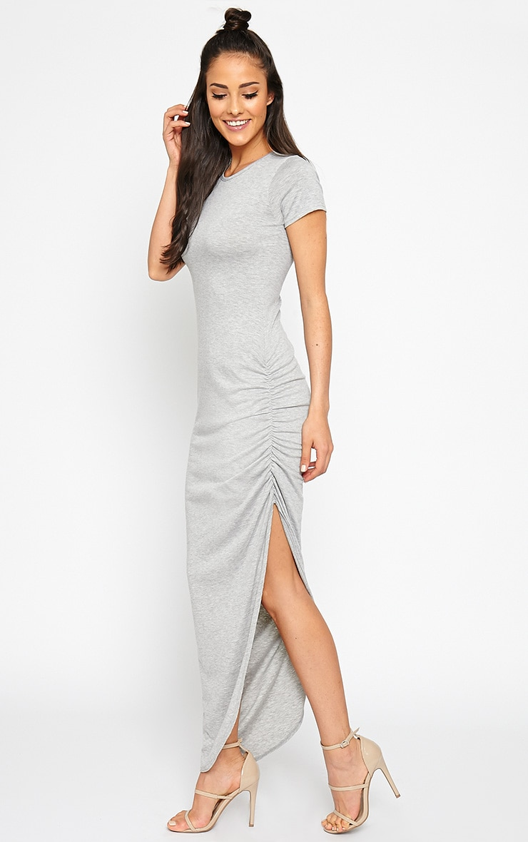 Basic Grey Ruched Cap Sleeve Maxi Dress 1