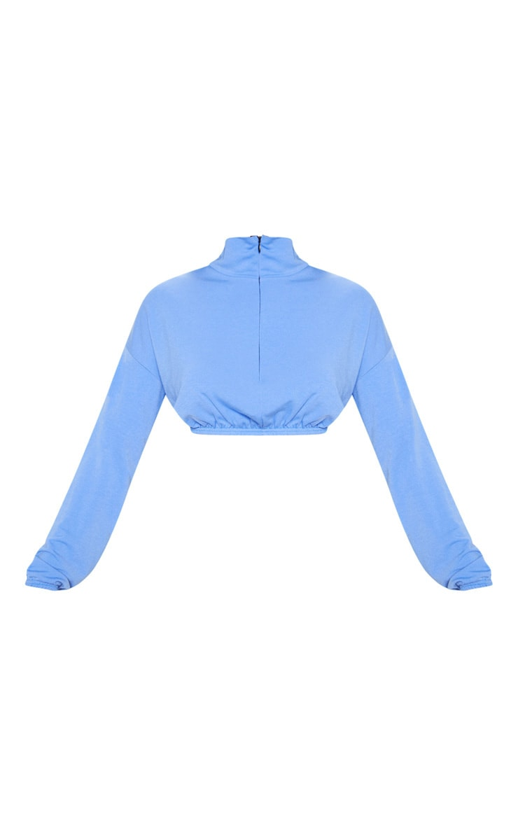 Bright Blue Cotton Zip Elastic Hem Crop Sweater 3