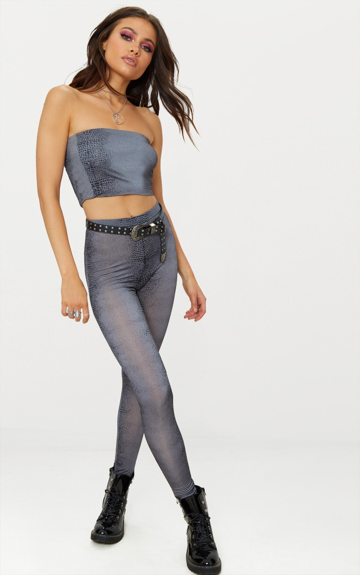Grey Snake Print Slinky Leggings