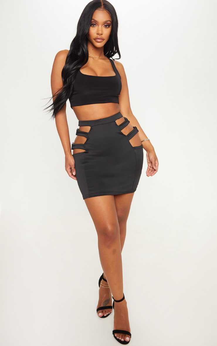 Shape Black Extreme Cut Out Buckle Detail Bodycon Skirt 4