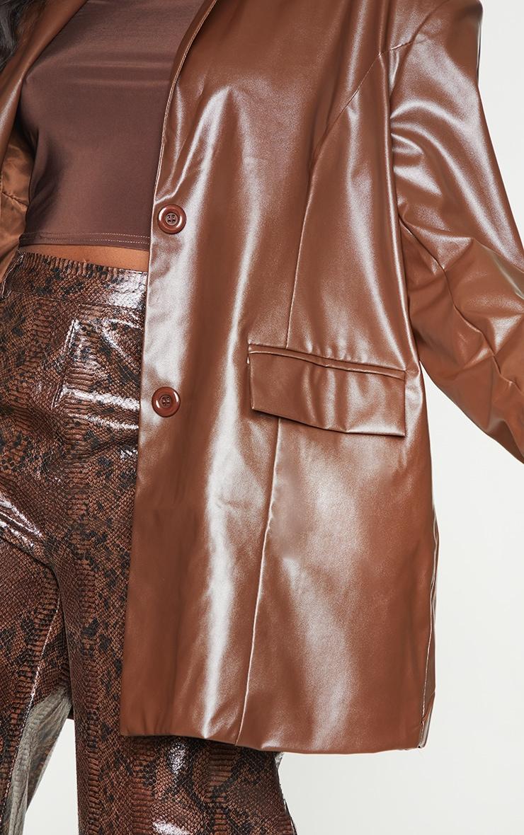 Chocolate Faux Leather Oversized Dad Blazer 4