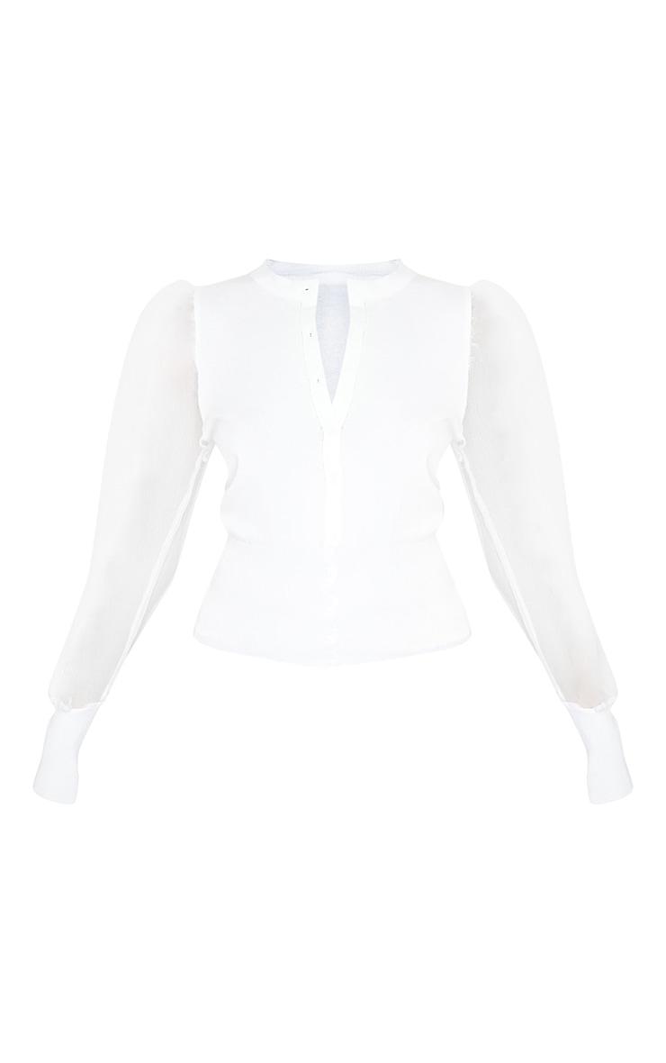 White Organza Puff Sleeve Cardigan 3
