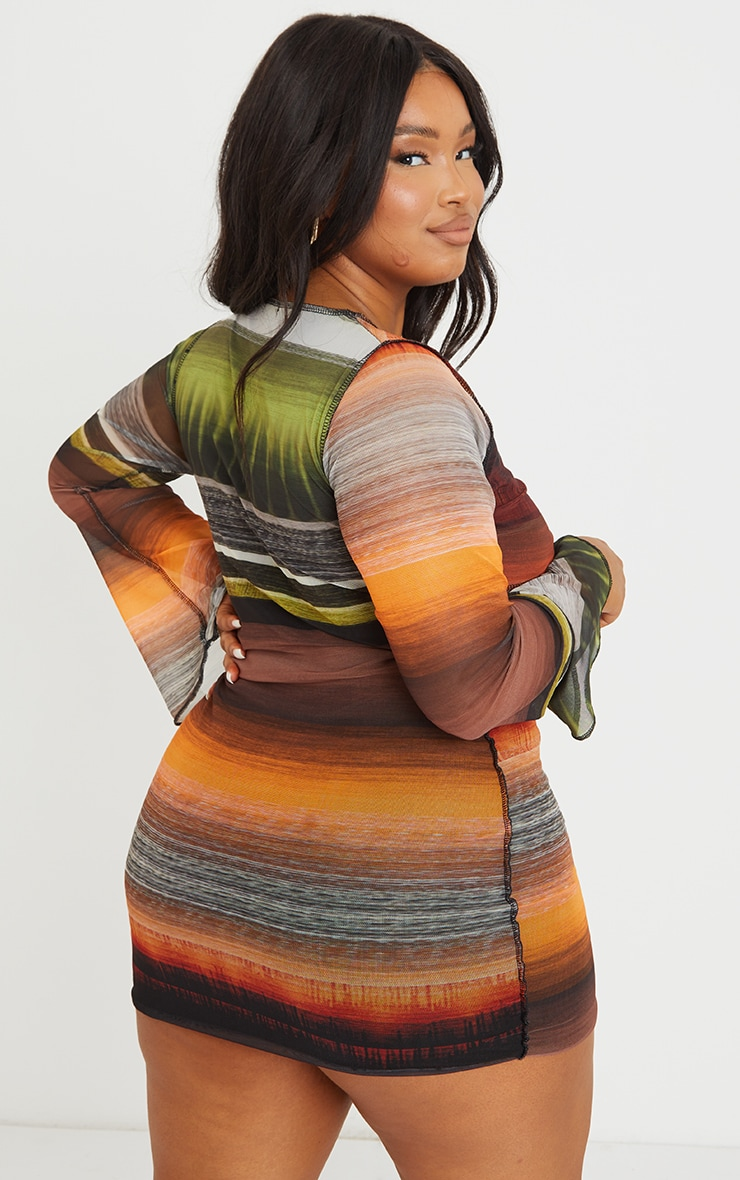 Plus Multi Abstract Stripe Print Cut Out Tie Front Mesh Dress 2