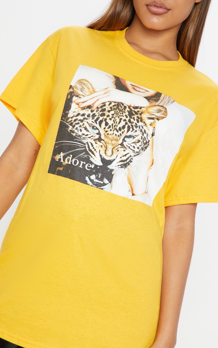 Yellow Adore Panther Oversized T shirt 5