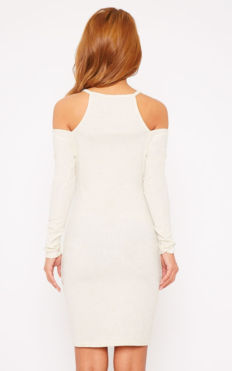 Geri Cream Ribbed Cut Out Shoulder Mini Dress 2