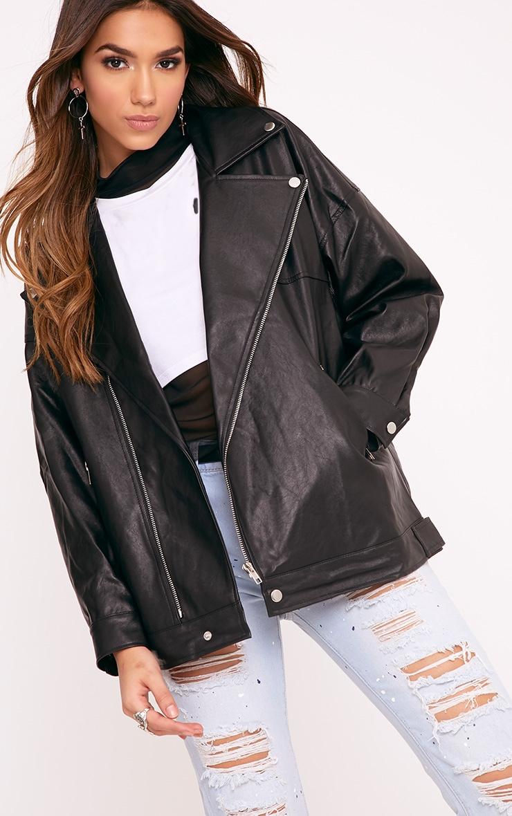 Lakeisha Black Oversized PU Biker Jacket 1