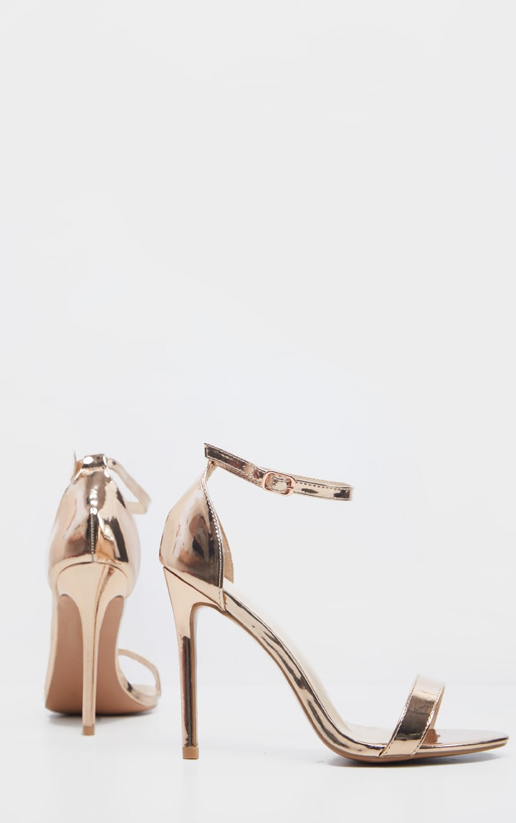 Clover Metallic Rose Gold Strap Heeled Sandal 3
