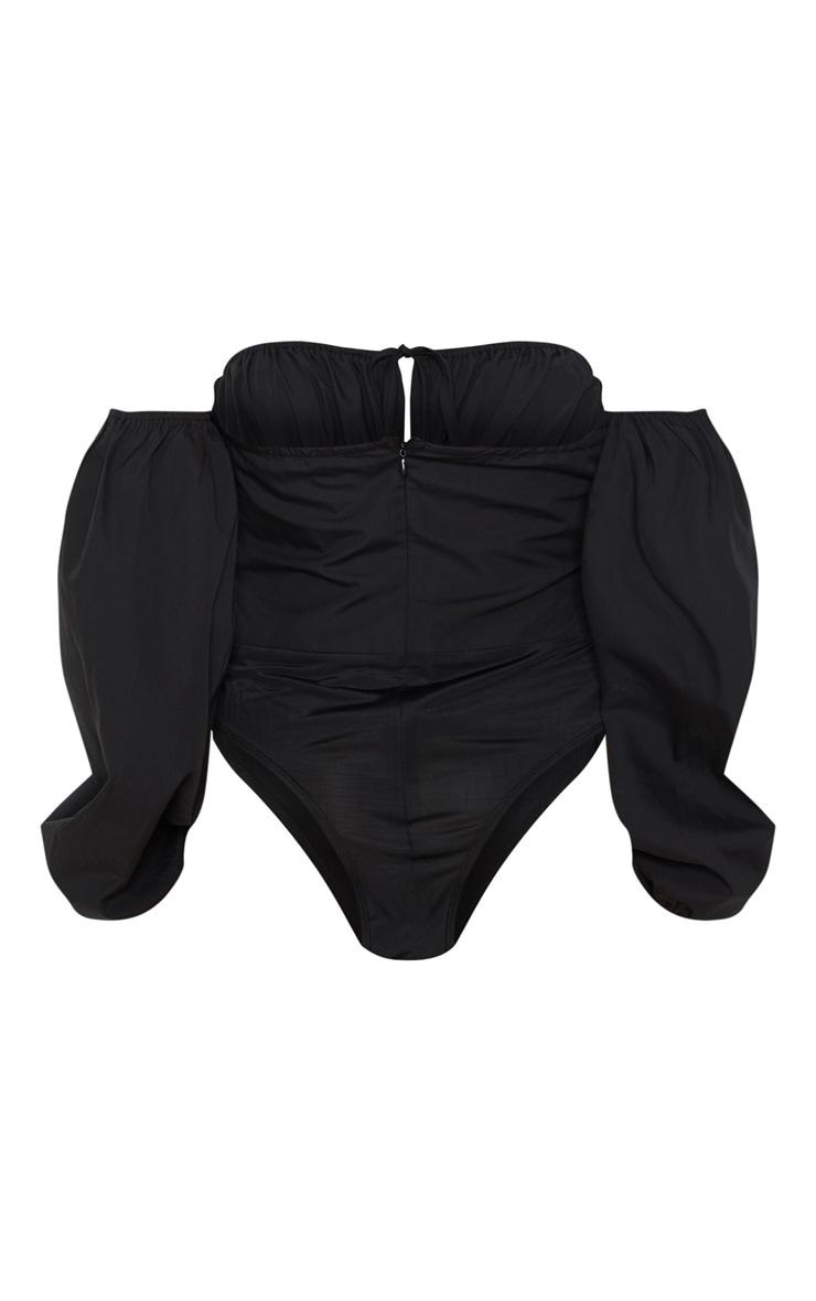 Black Hook & Eye Bardot Long Sleeve Bodysuit 4