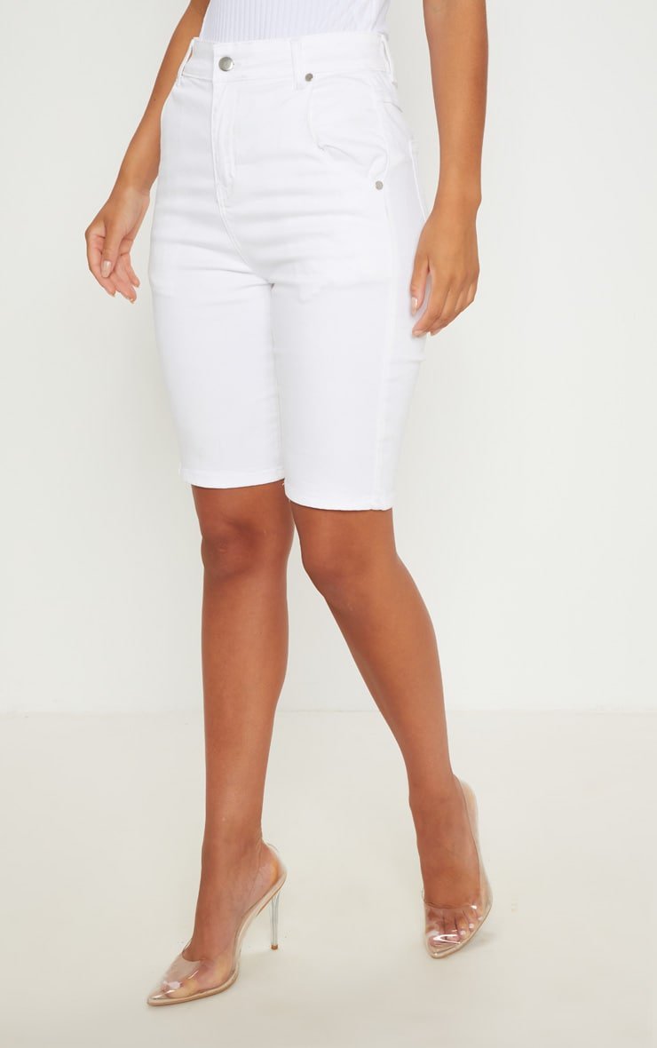 White Denim Bike Shorts  2