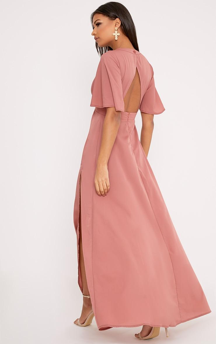 Haylia Dark Nude Kimono Sleeve Maxi Dress 2