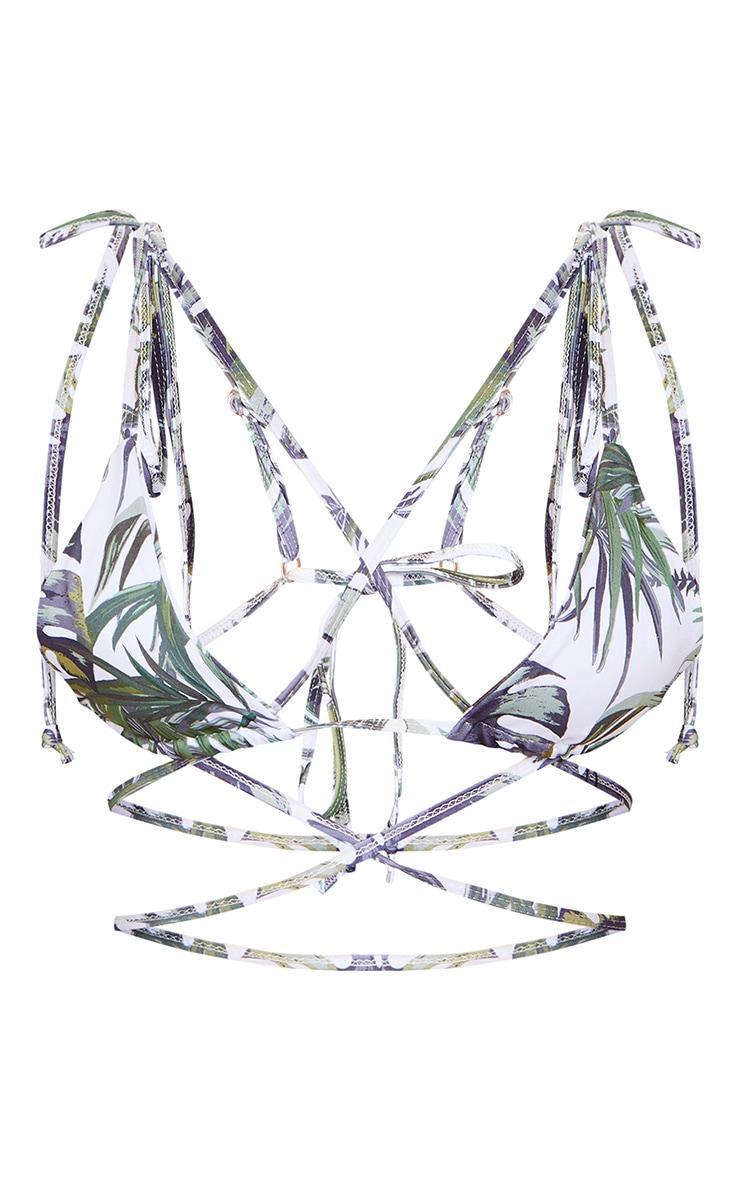 White Palm Print Triangle Tie Back Mini Bikini Top 6