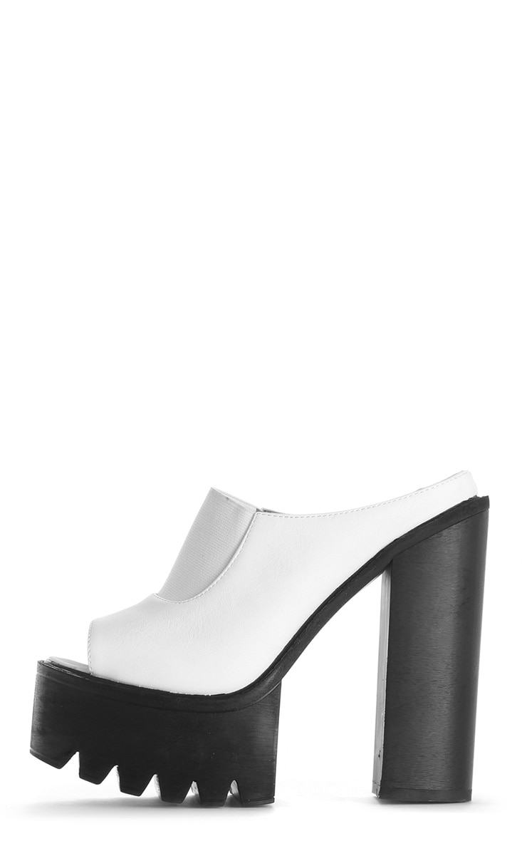 Yamelia White Open Toe Mule Sandals 1