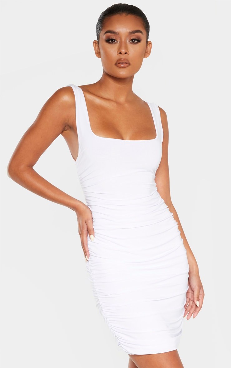 White Slinky Ruched Sleeveless Bodycon Dress 1