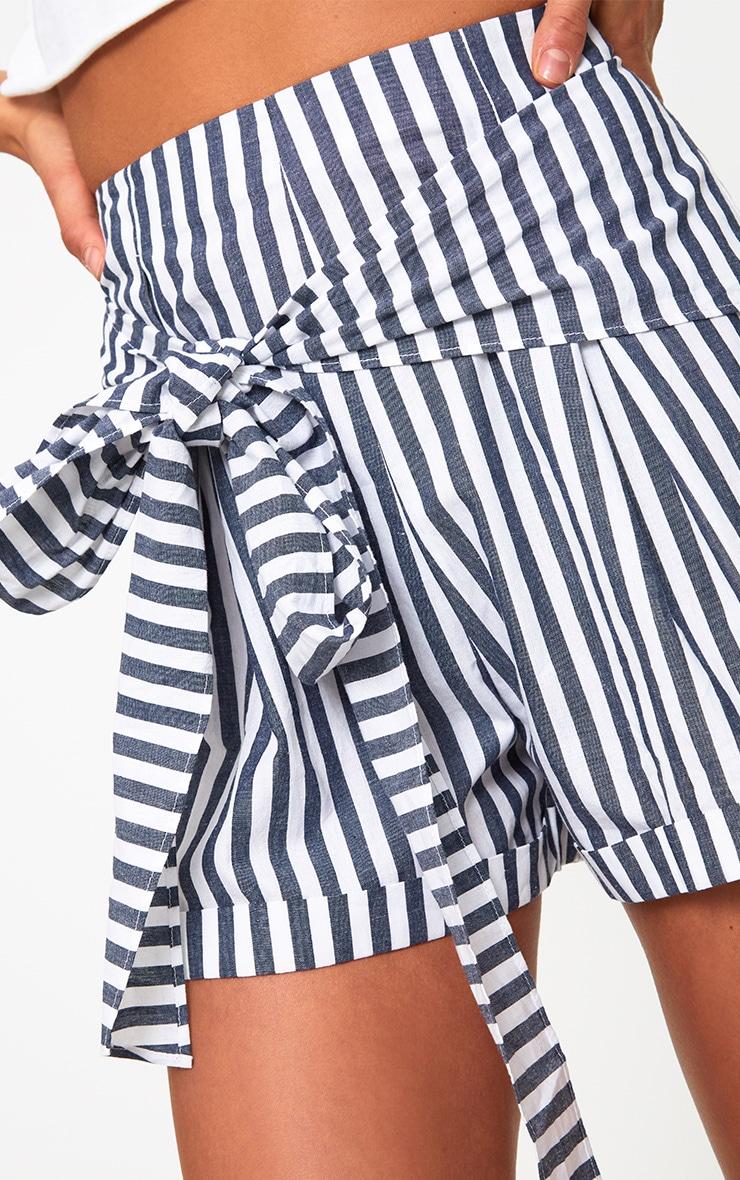 Navy Tie Waist Stripe Shorts 6