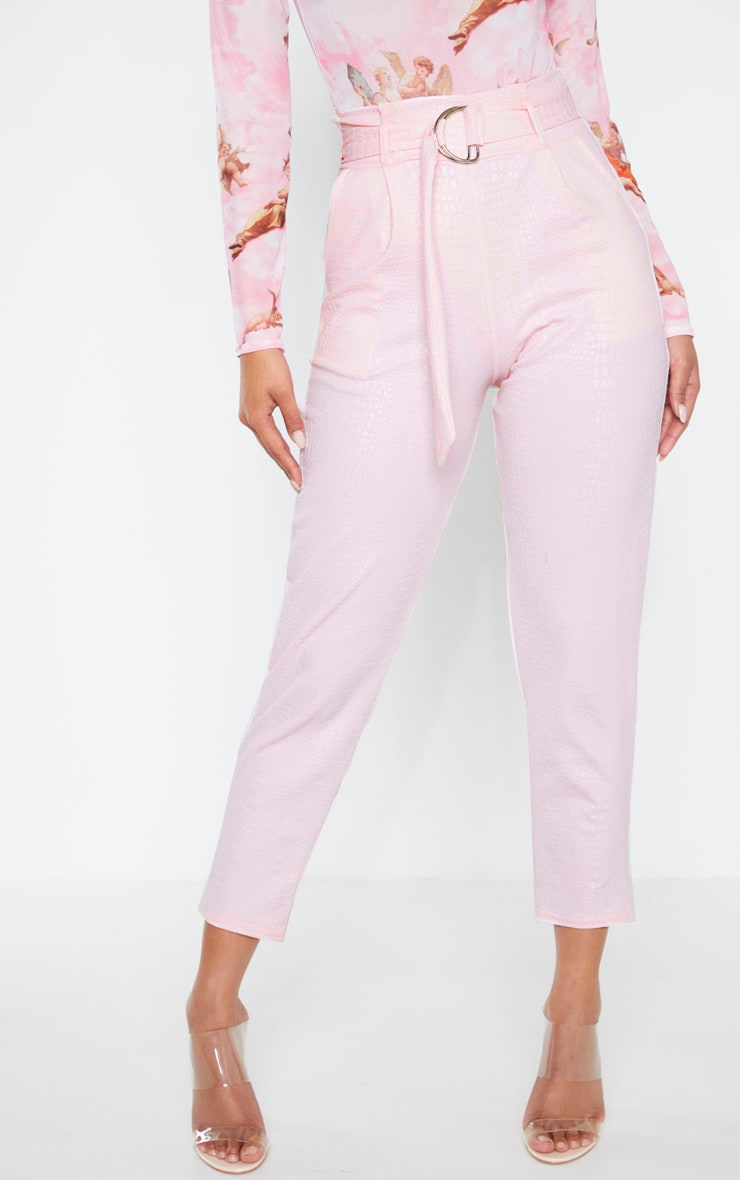Light Pink Croc Print D Ring Belted Skinny Trousers 2