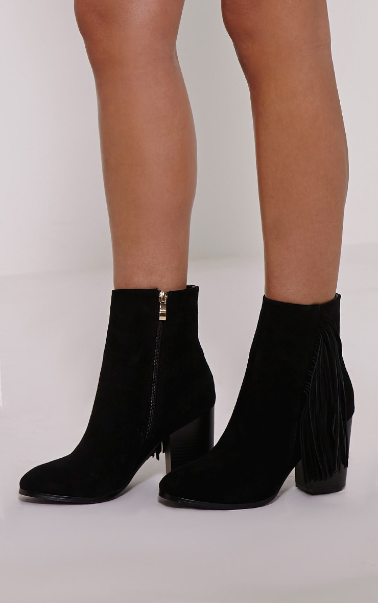 Yasmina Black Fringe High Ankle Boots 1