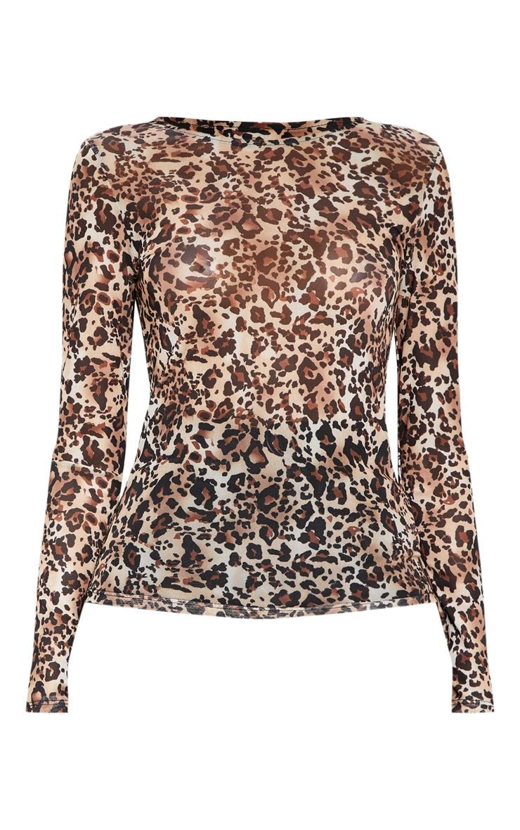 Brown Mesh Leopard Print Long Sleeve Top 3