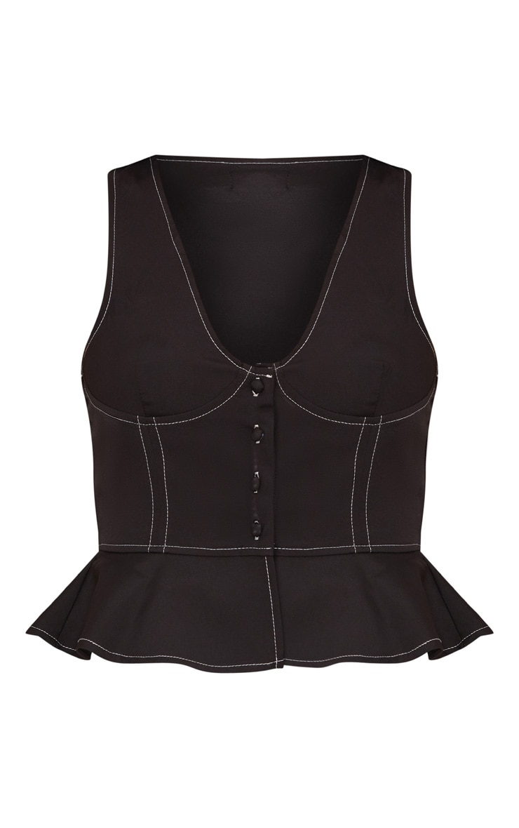 Black Stitch Detail Bustier Top  3