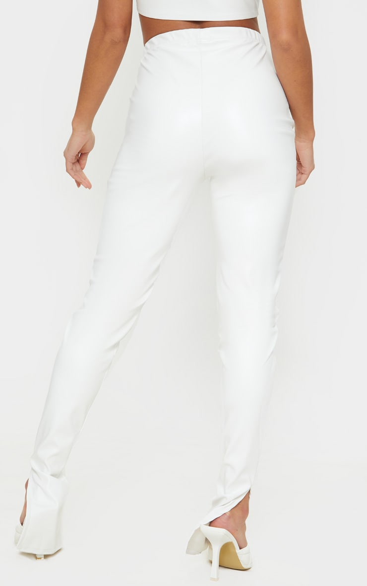 Petite Cream Faux Leather Split Hem Leggings 3