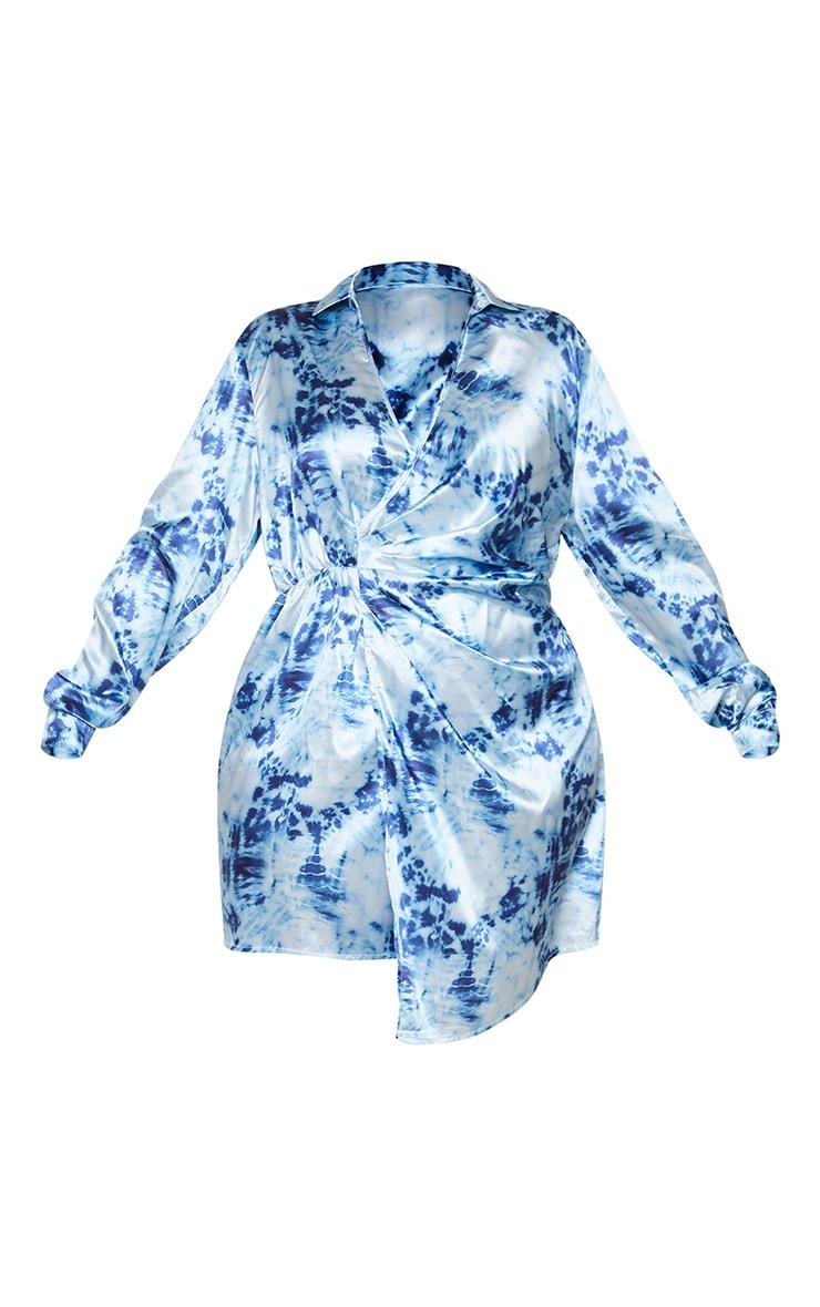 Plus Blue Tie Dye Satin Twist Front Dress 5