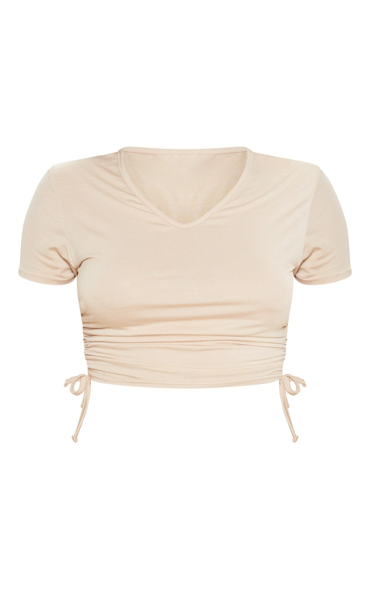 Biscuit Jersey V Neck Ruched Side T Shirt 3