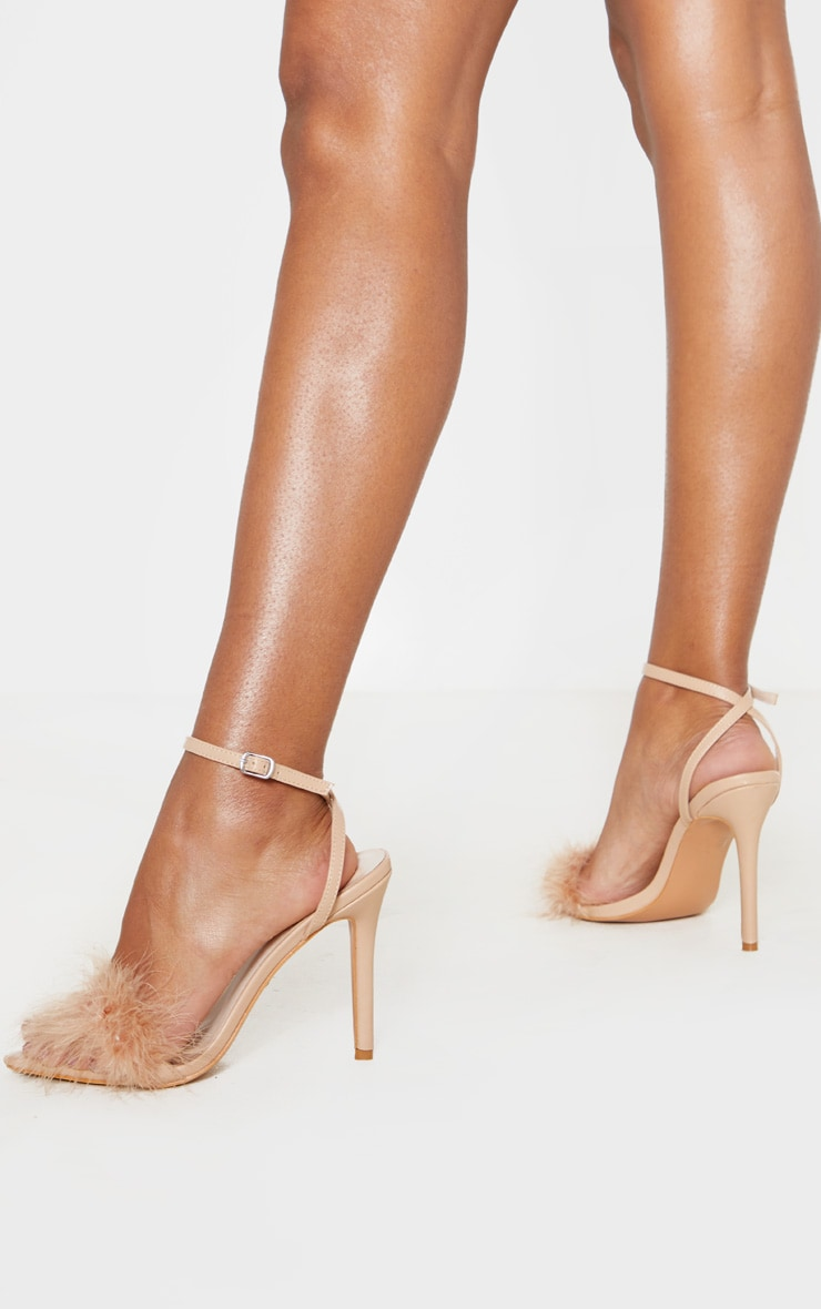 Nude Feather Strap Heeled Sandal 1
