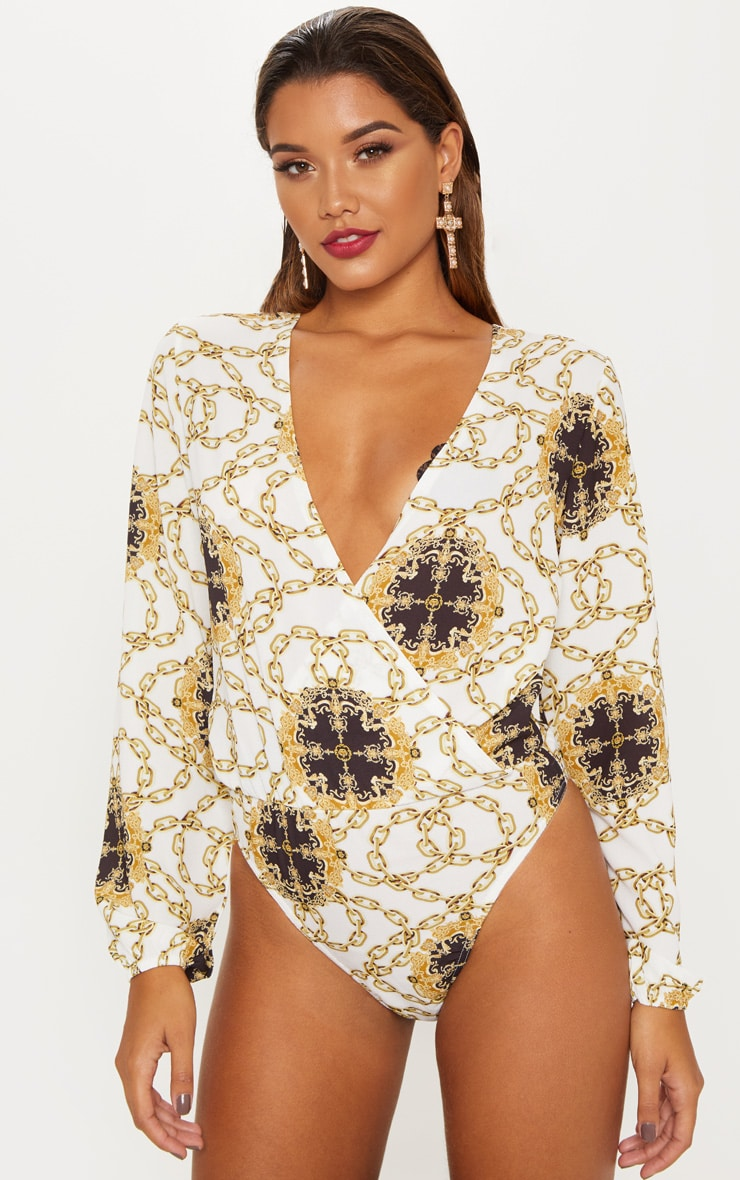 White Chain Print Plunge Wrap Bodysuit 2