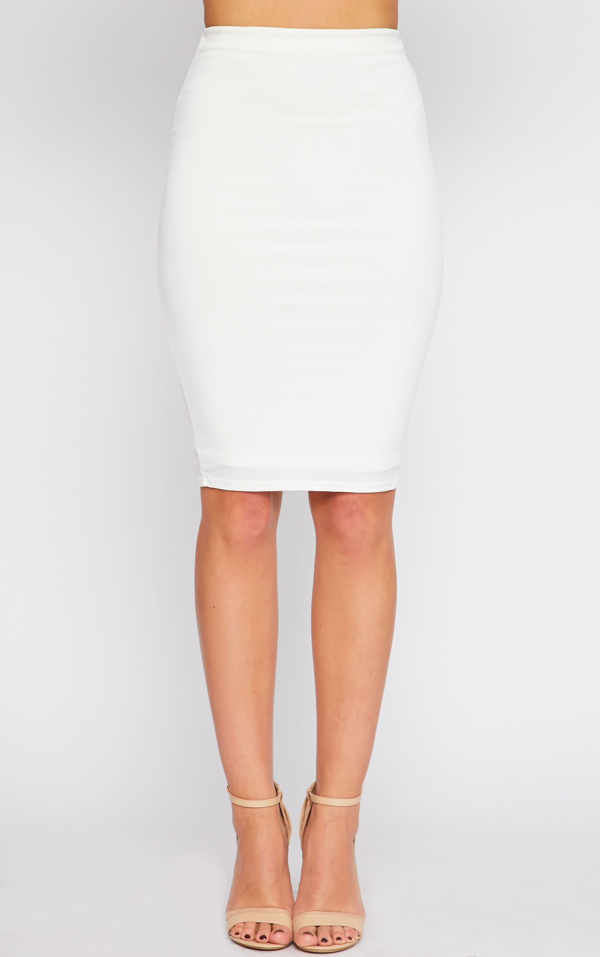 Bessie Cream Slinky Midi Skirt  2