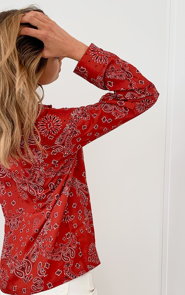 Red Paisley Printed Pocket Oversized Shirt 4