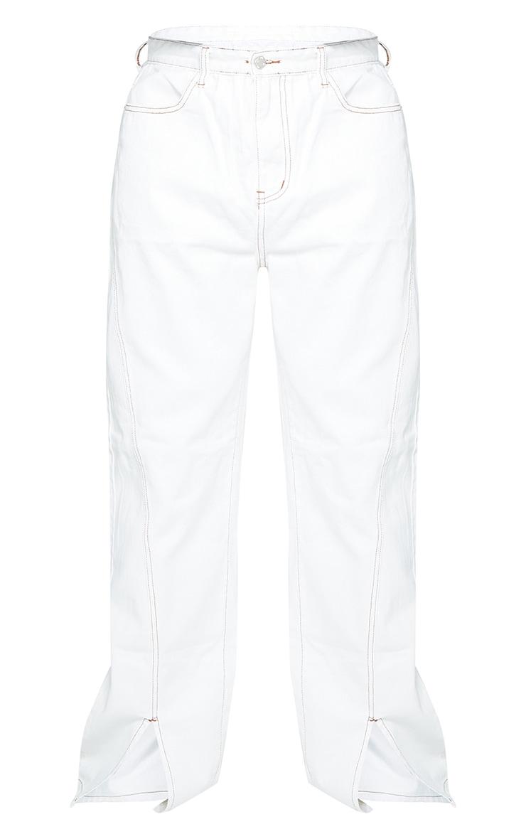 Plus White Tobacco Stitch Seam Detail Split Hem Jeans 5