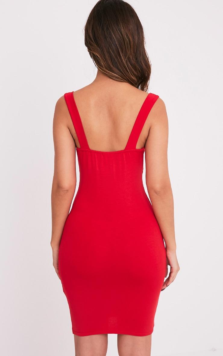Rachie robe rouge près du corps à décolleté plongeant et bretelles 2