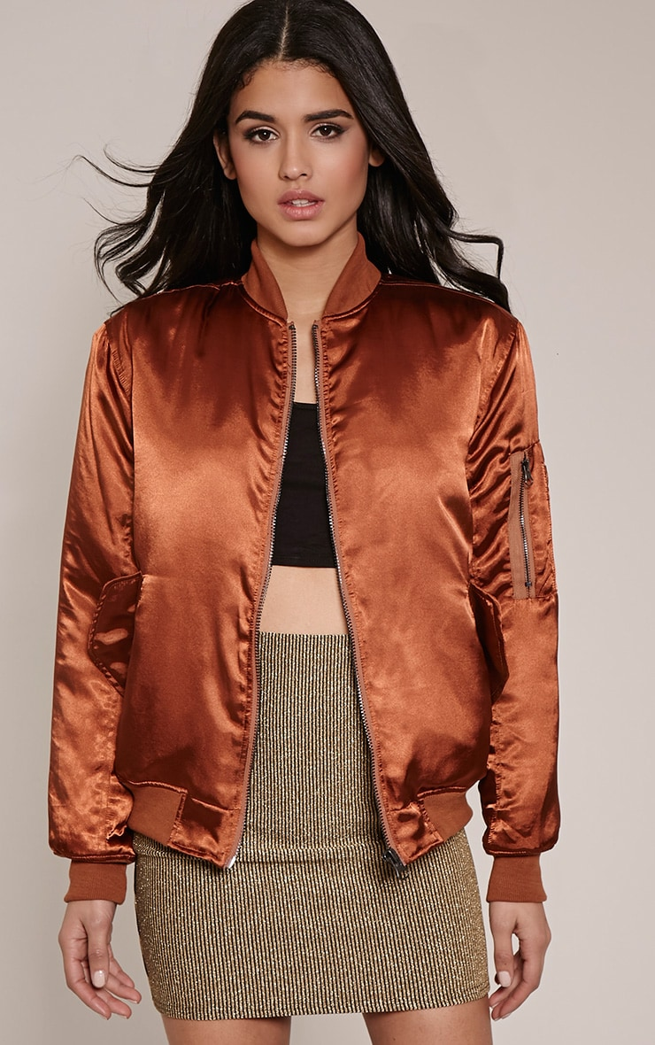 Cruz Brown Satin Oversized Bomber Jacket 4