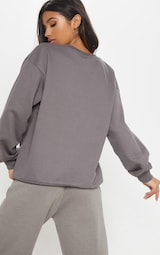 PRETTYLITTLETHING Charcoal Grey Embroidered Oversized Sweatshirt 2