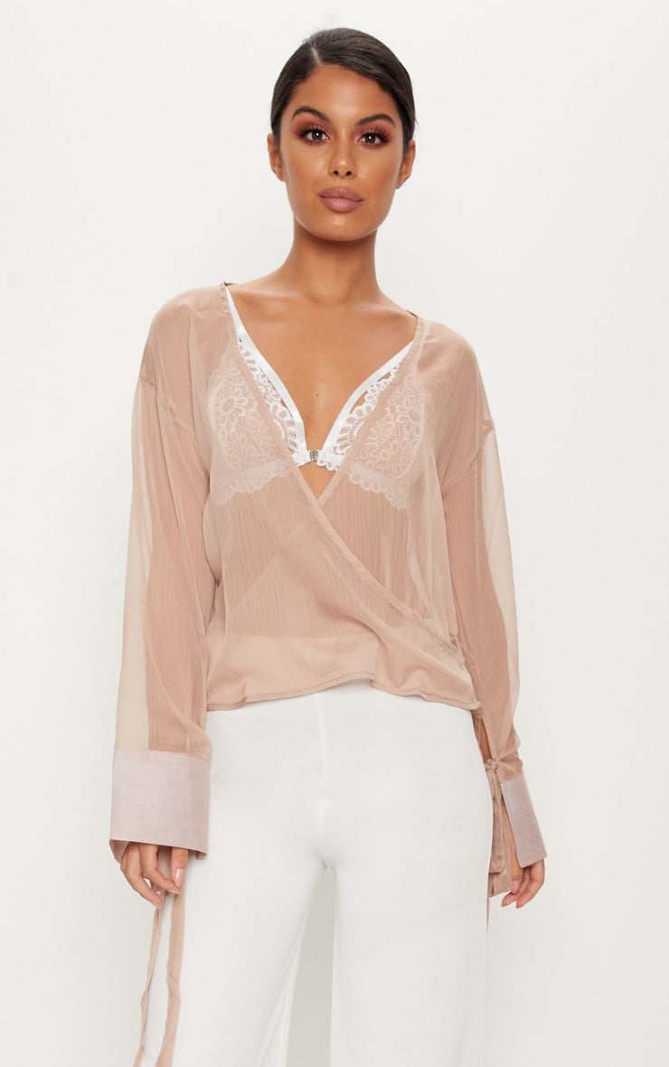 Nude Sheer Mesh Wrap Front Blouse