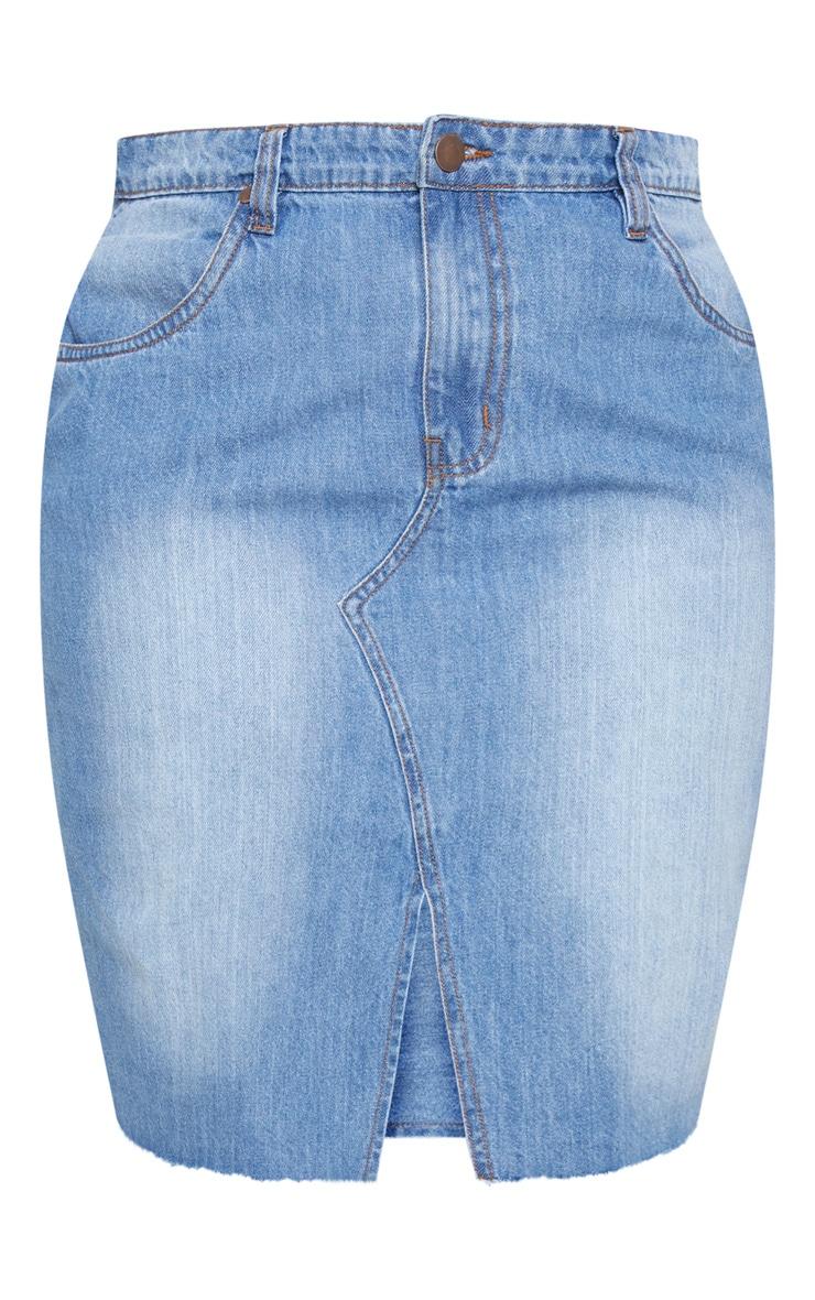 Plus Light Wash Denim Fray Hem Midi Skirt  3