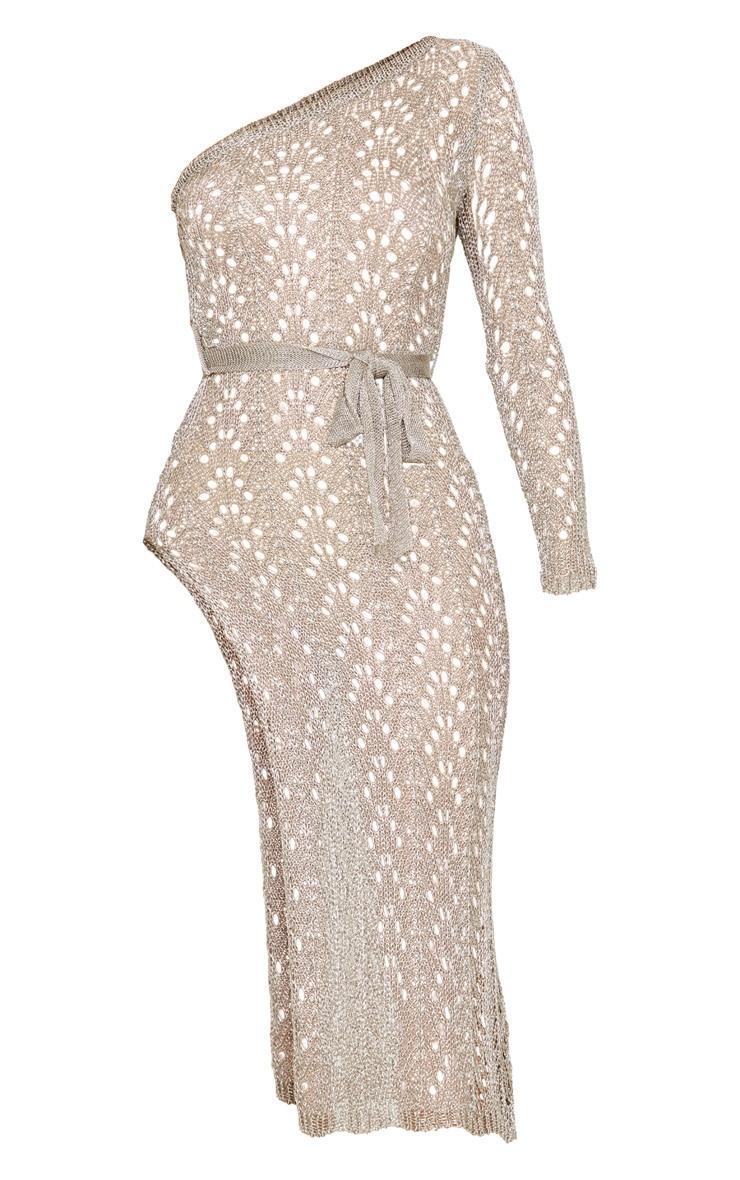 Silver Asymmetric Open Knit Metallic Dress 3