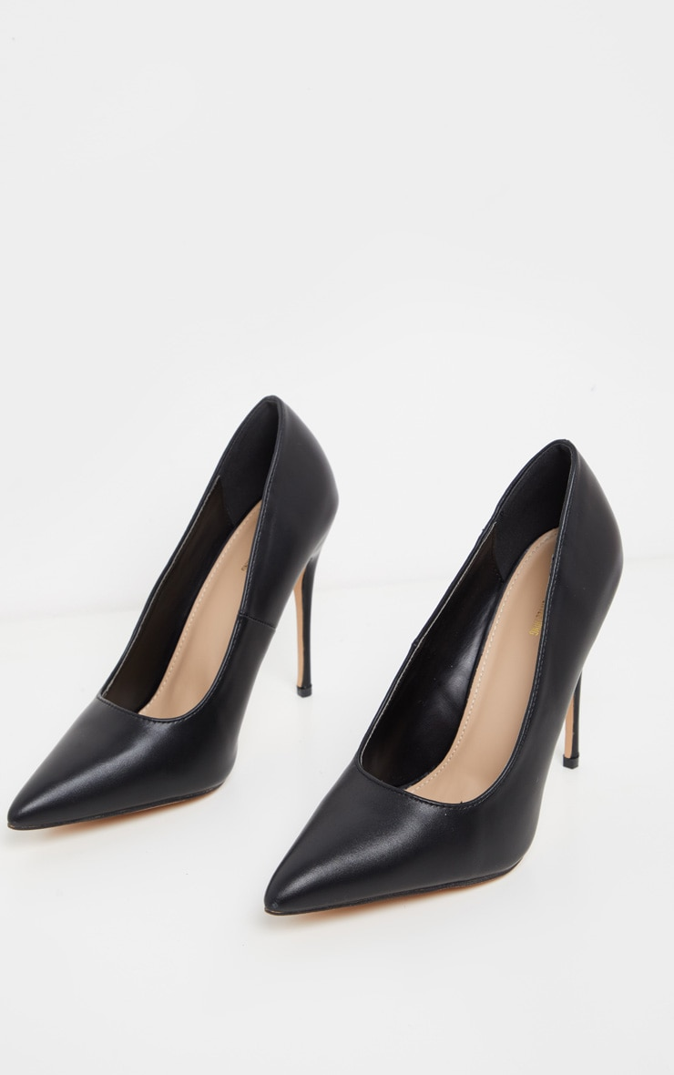 Black PU Court Shoes 3