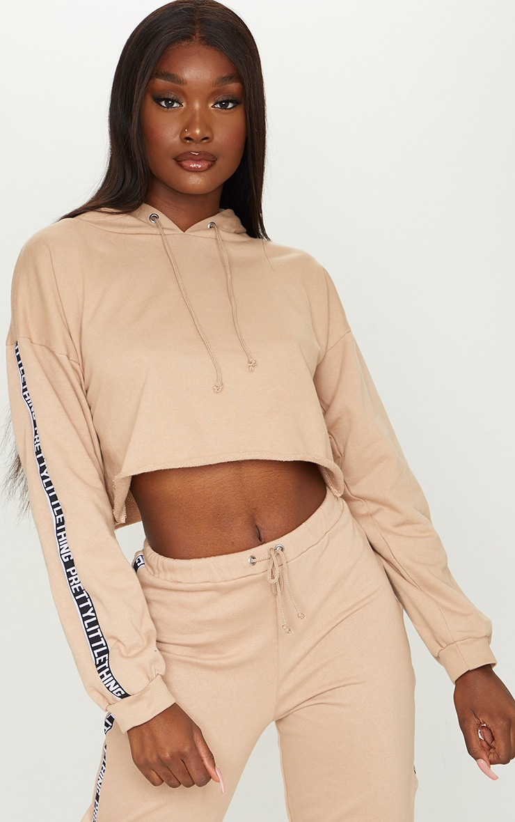 PRETTYLITTLETHING Tall Stone Cropped Hoodie 3