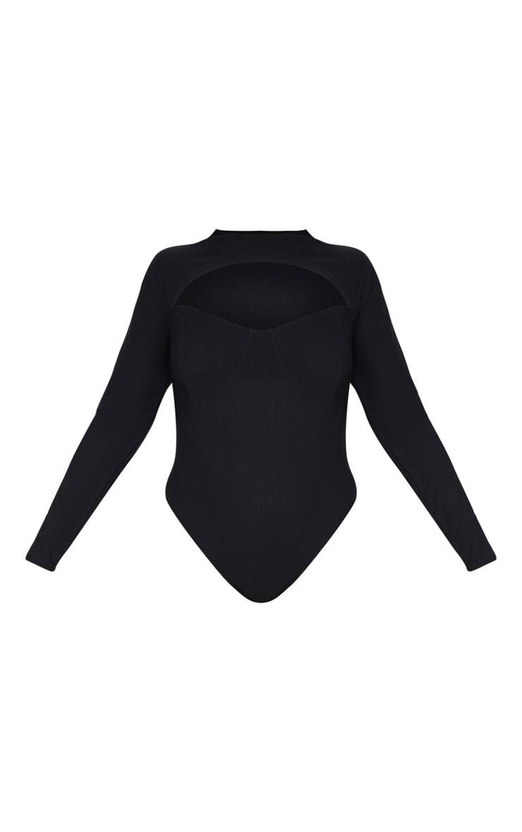 Plus Black Cut Out Detail Bust Cup Bodysuit 4
