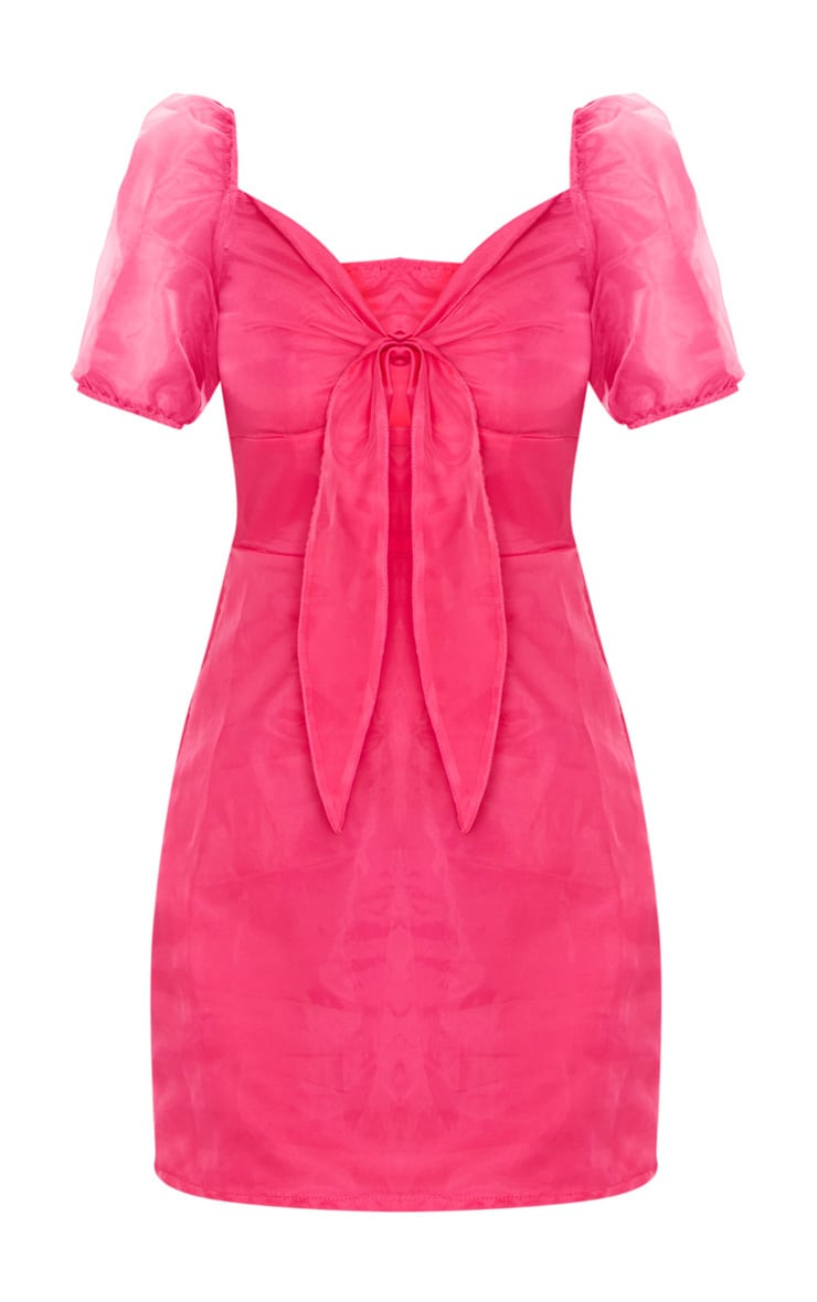 Pink Organza Tie Front Puff Sleeve Shift Dress 5