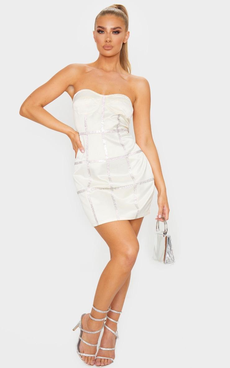 Champagne Bonded Satin Diamante Binding Detail Bandeau Bodycon Dress 3