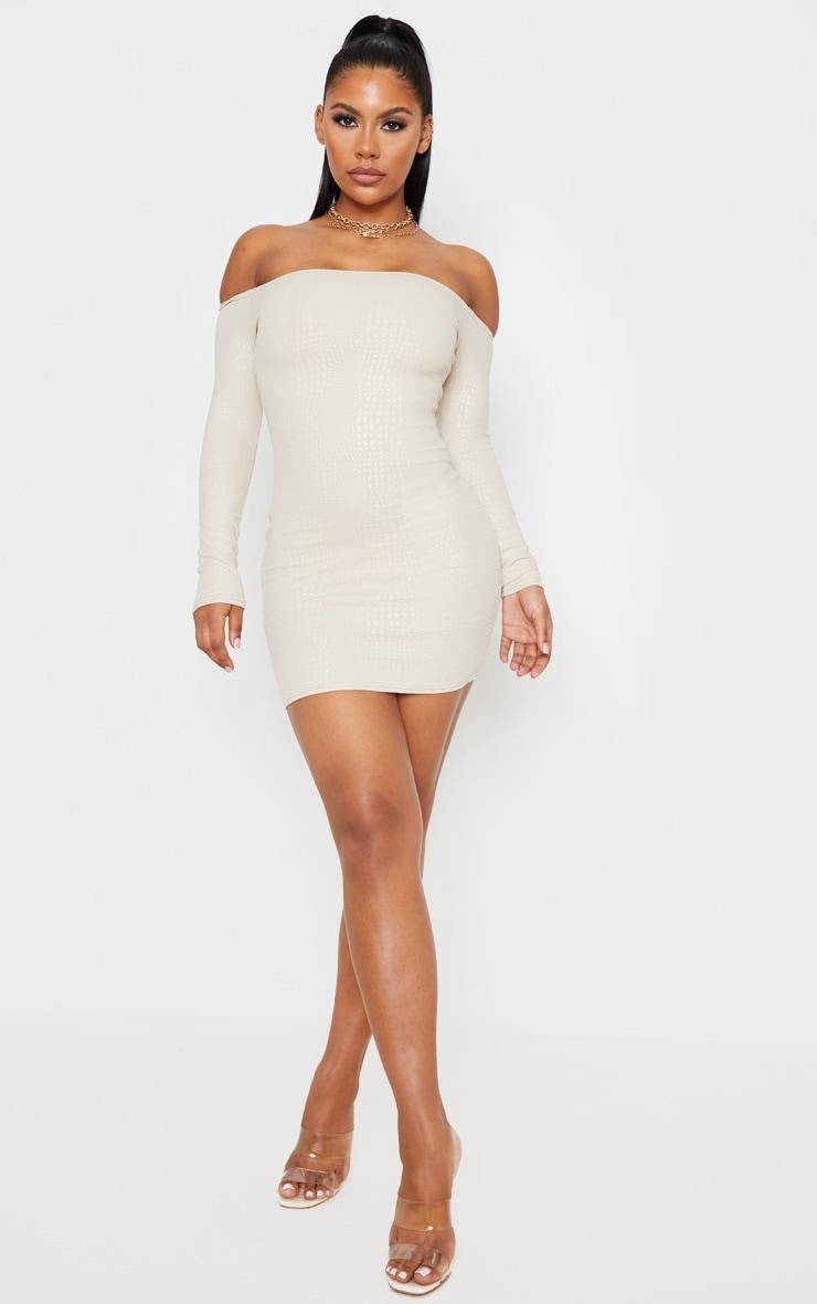 Nude Textured Croc Bardot Bodycon Dress 4