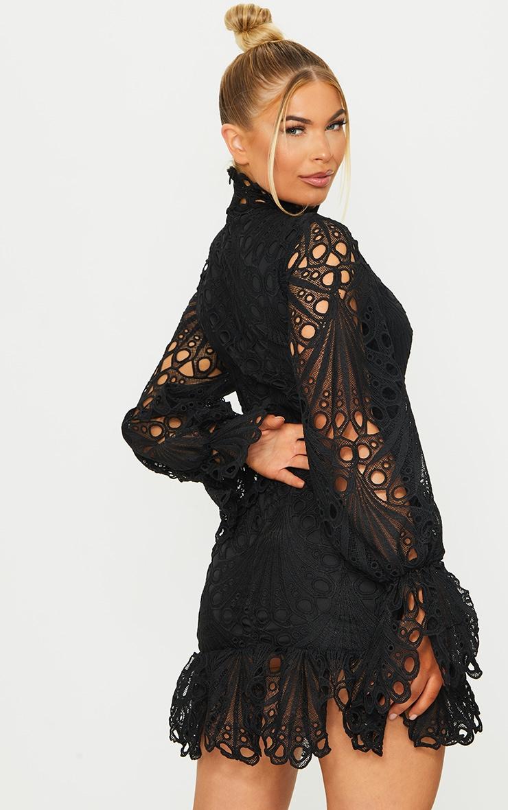 Black High Neck Lace Long Sleeve Frill Bodycon Dress 2
