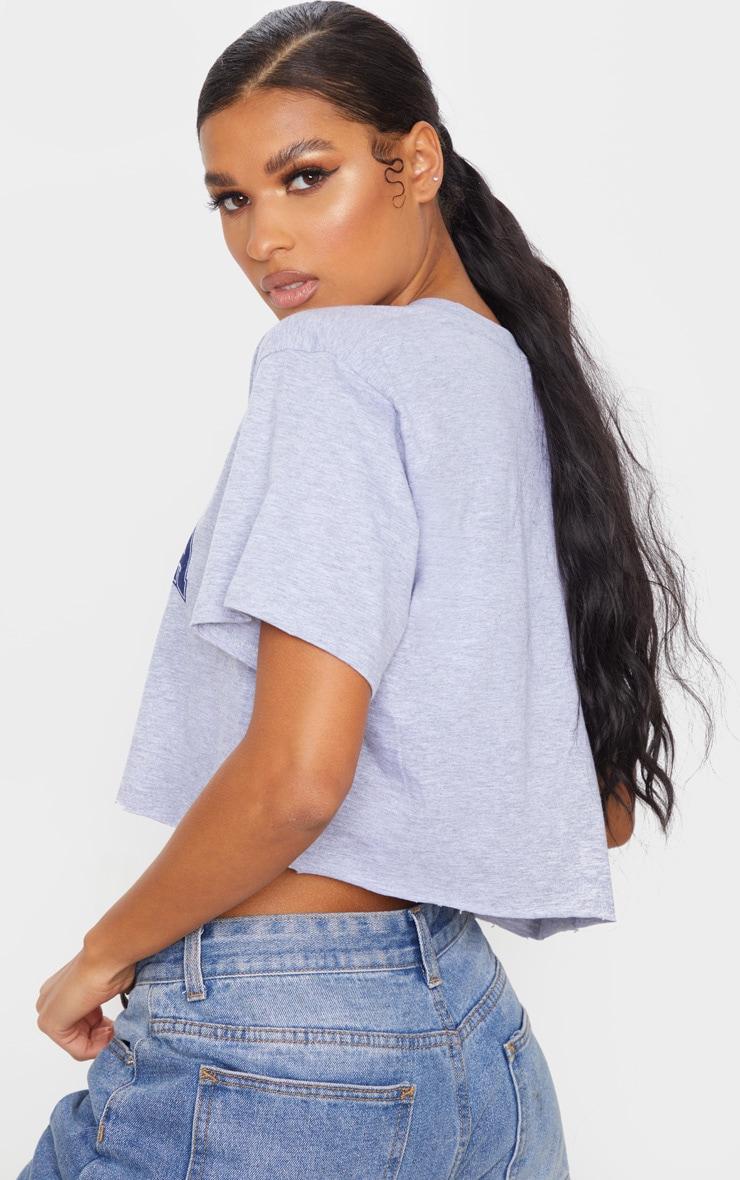 Grey Marl Florida USA Crop T Shirt 2