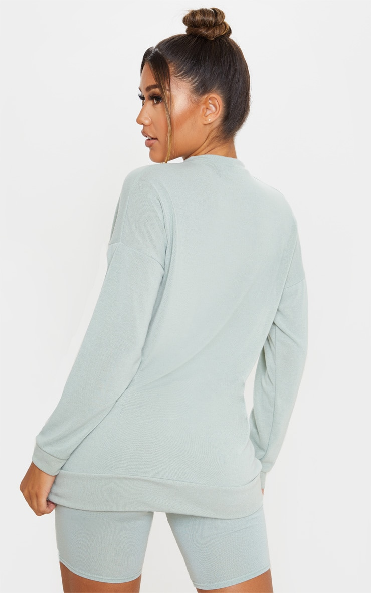 Sage Green Soft Cotton Oversized Long Sleeve Top 2